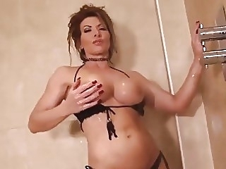 Lynda Leigh milf strip naked in shower and wanks her pussy big tits english hottie