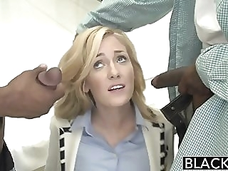 BLACKED 2 Big Black Dicks for Rich Girl Emily Kae blonde cumshot facial