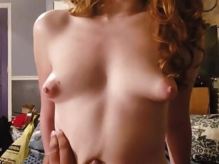 Redhead rides cock and lets him cum inside tits redhead creampie