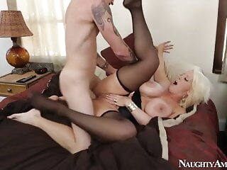 ALURA JENSON in black stockings gets hard fucking hardcore stockings milf