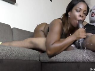 Lessy Drains His Balls big cock brunette deepthroat