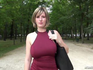 Busty blonde, Milena went home with two guys and had a wild threesome with them anal big tits blonde