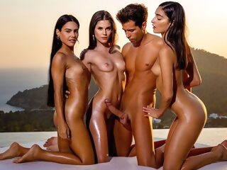 Three beautiful brunettes at sunset gave the boy group Orgy... brunette group sex outdoor