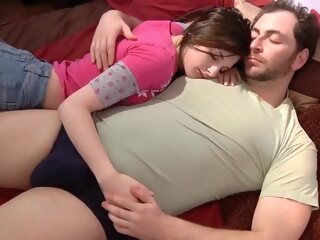 Caught by daddy brunette handjob hd