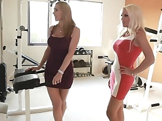 Two horny moms taking care of a son't friend blowjob threesome milf