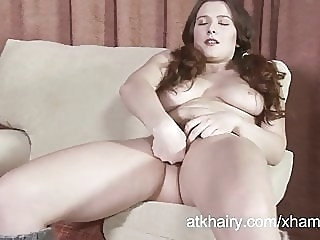 Lena Lake fingers her hairy pussy amateur brunette hairy
