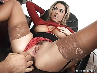 Secretary Mandy in red high heel sandals screws her boss anal facial milf
