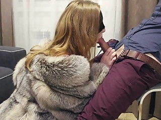 PART 1: Teasing and blowjob in fox fur coat and lingerie. Ultimate erotic blond red head lingerie