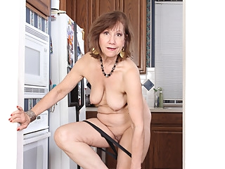 American gilf Penny gets busy in the kitchen grannies mature milf