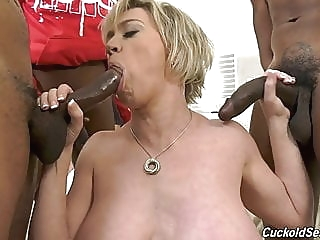 Hubby catches wife with three big black cocks blonde milf cuckold