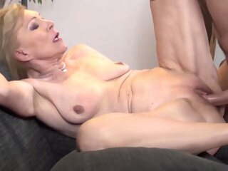 Horny Blonde Granny Is Having Amazing Sex With A Younger Guy, In The Middle Of The Day big cock blonde deepthroat