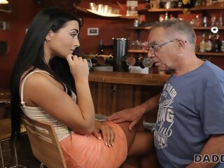 DADDY4K. Anna has old and young sex act in the bar of her boys dad blowjob brunette czech